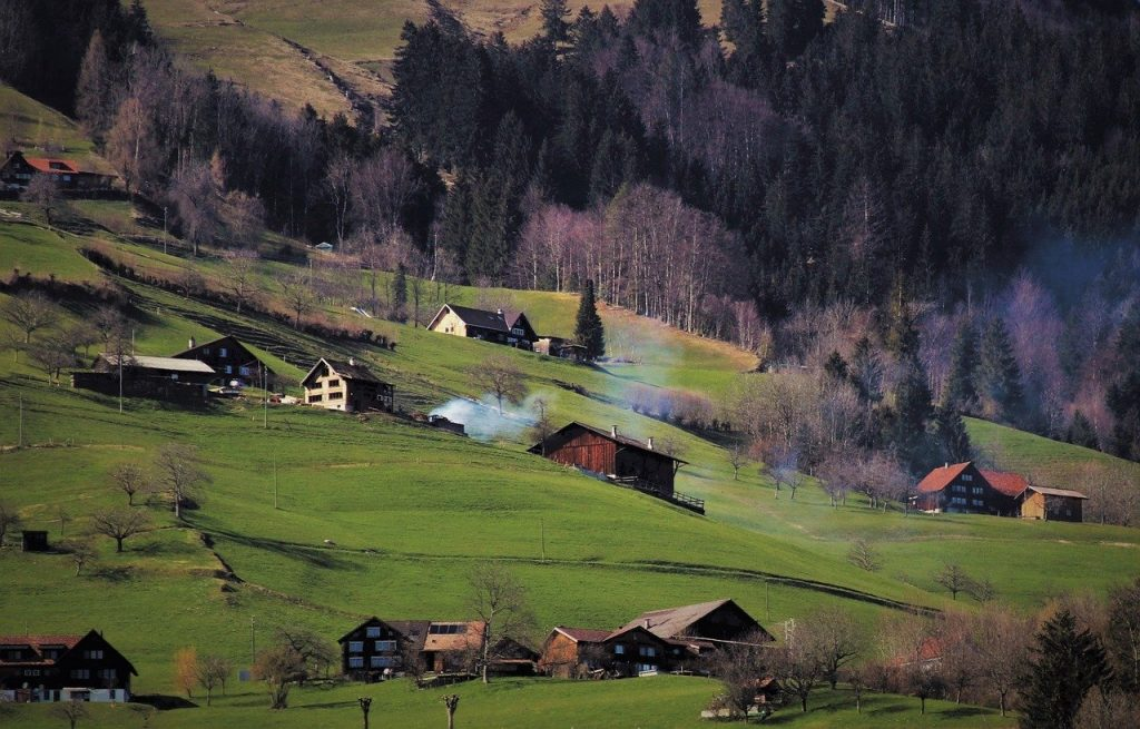 village, houses, hill